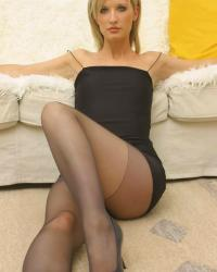 Sexy woman in black pantyhose